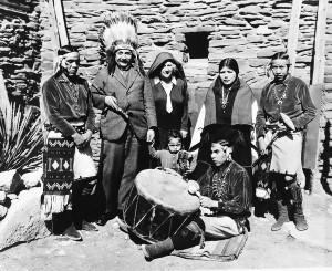 80Albert Einstein poseswearing a headdress with his wifeElsa Einstein and a Hopi tribe in Grand Canyon Ariz1931